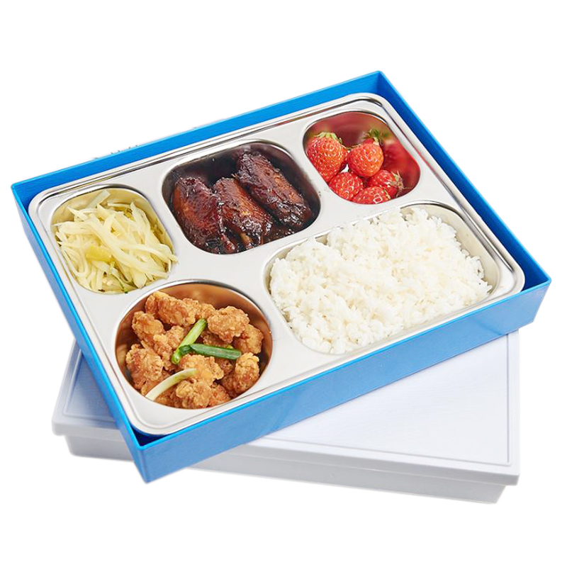 Rvs 5 compartiment lunchbox bento box met cover