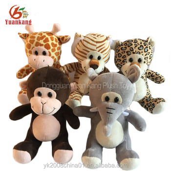 children baby cute mini plush stuffed animals assorted toys elephant/leopard/tiger/giraffe/monkey