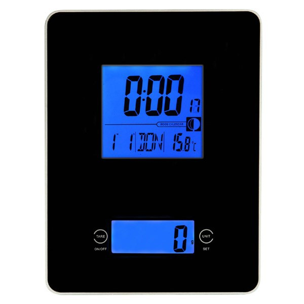 Digital glass kitchen scales with Time/date/alarm/snooze/temperature display