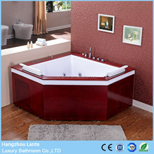 Cheap price triangle Massage jets bath bathtub with wooden skirt