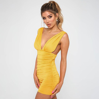 2019 European and American spring and summer explosions Four-color sleeveless deep V backless sexy nightclub dress