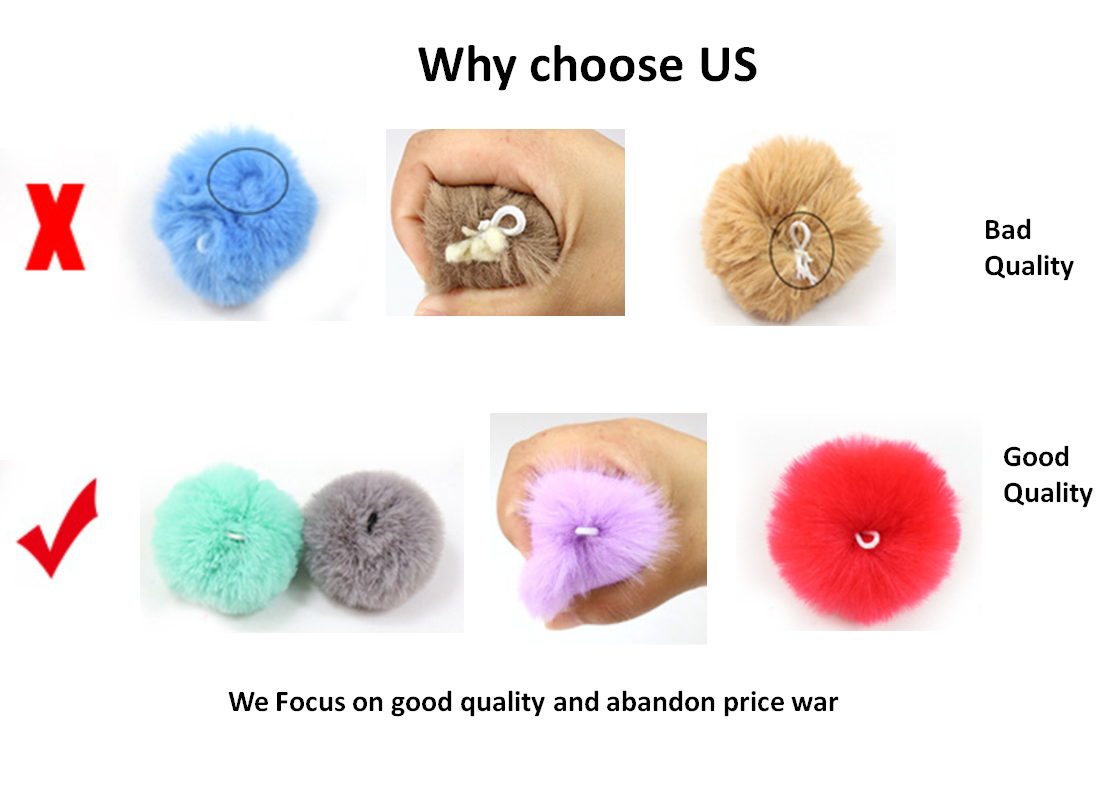 Priced to sell hot colorful fur balls for keyrings customized size real mink pompons