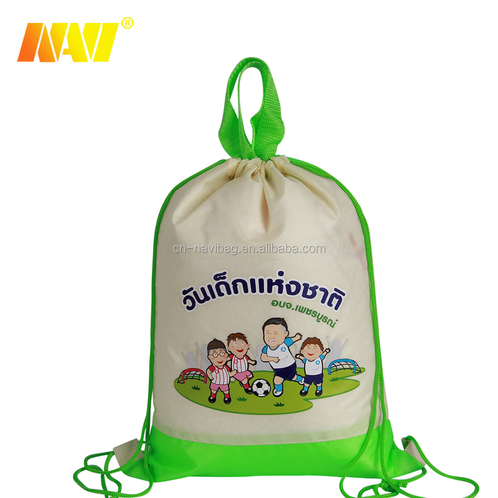 210D polyester small pink cute kids drawstring bags backpacks