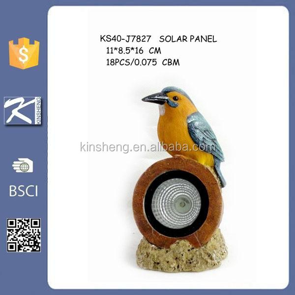 Resin Bird Figurine Solar Lamp For Garden Decor