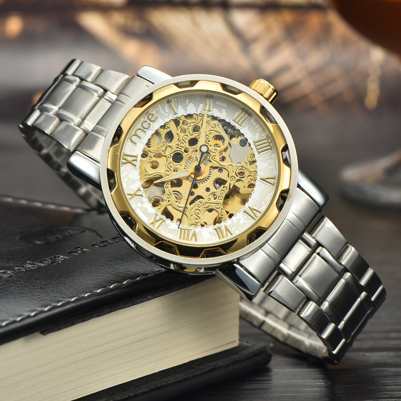 2017 Best Selling 30m Waterproof Business Man Skeleton Automatic Watch for Men