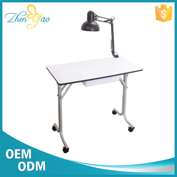 2017 Portable Wood Make Nail Salon Manicure Folding Table With Lamp