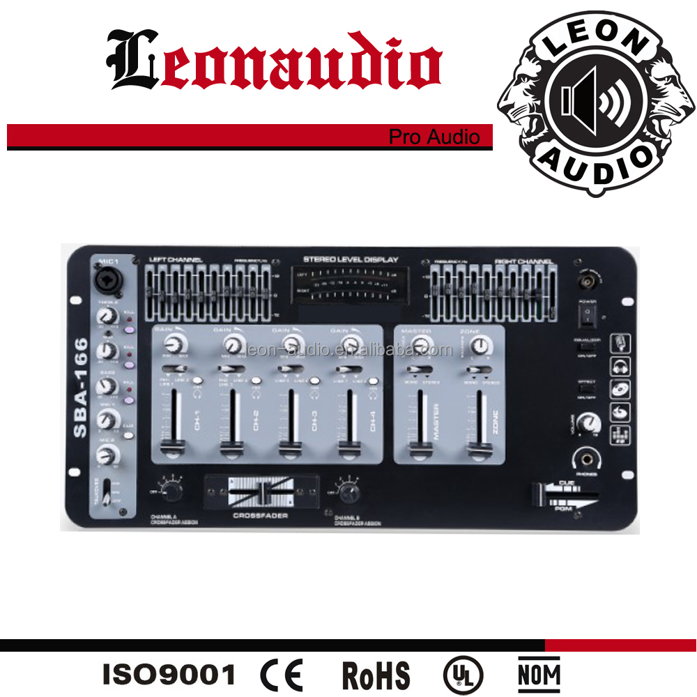 professional stereo dj mixer for sound system 4channel digital design