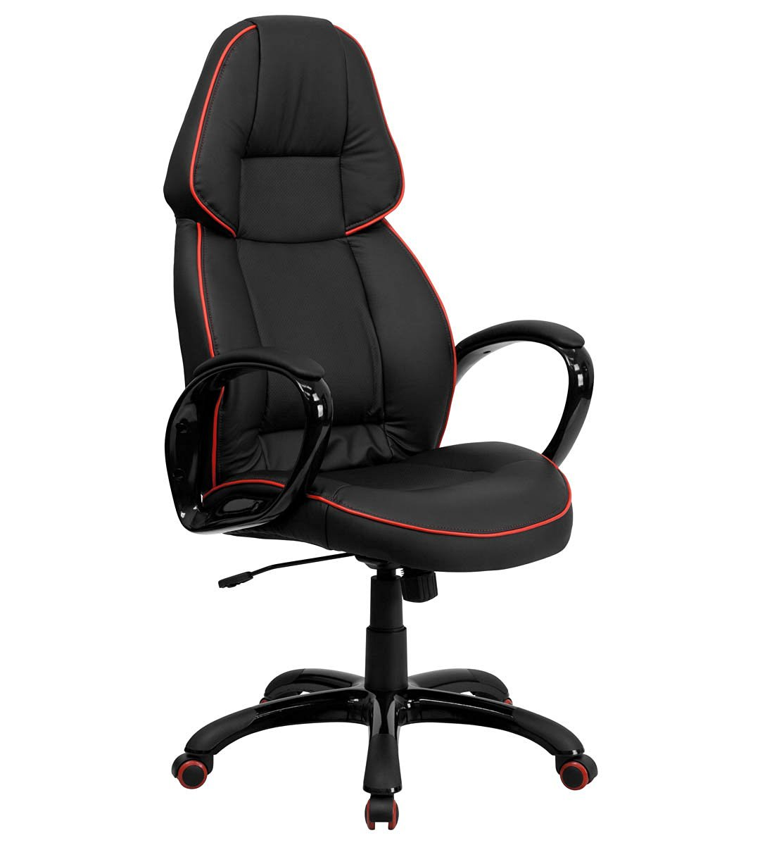Get Quotations High Back Black Vinyl Executive Office Chair With Red Pipeline Border