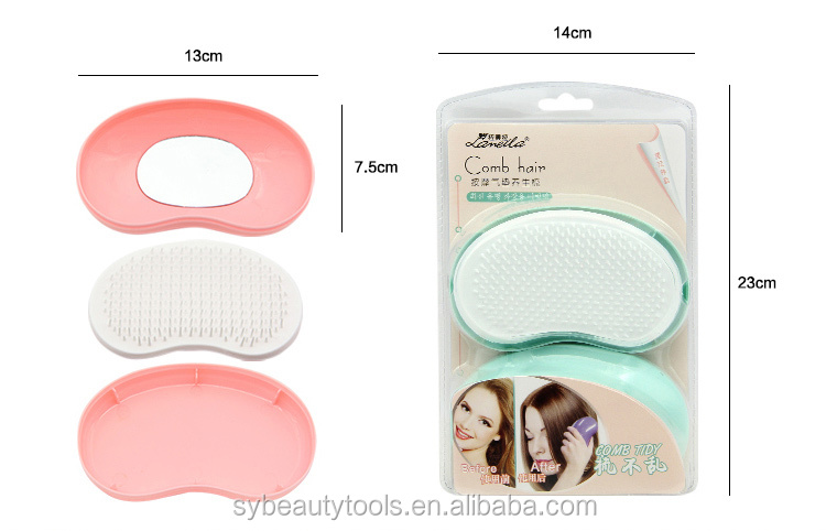 Custom logo magic massage comb mini hair straighter brush with mirror