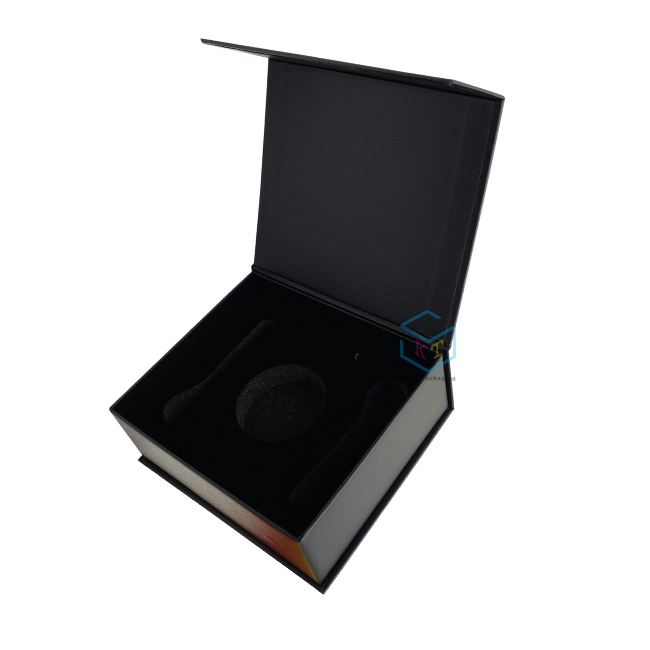 luxury gift caviar packaging black magnet food paper box
