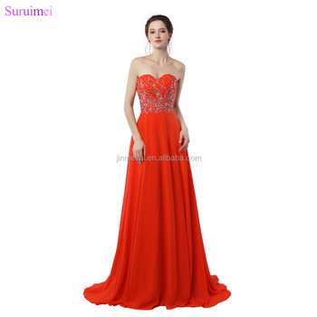 Dark Orange Evening Dresses Chiffon Floor Length Sweetheart Beaded Graceful Long Evening Gown Free Shipping On Sale