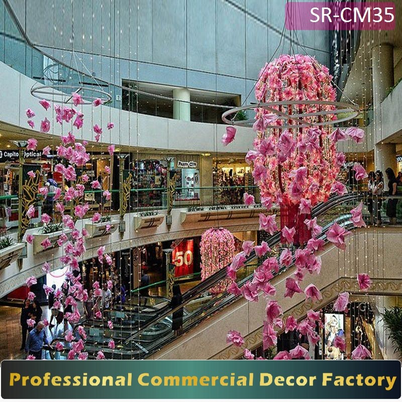 Christmas Decorations In Shopping Malls: Customize Commercial Spring Atrium Ceiling Hanging Flower