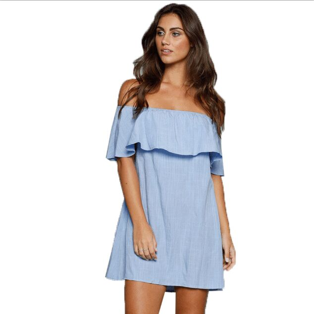 2016 sexy beach ruffles dress in fashion casual design off the shoulder short sleeve mini dress for <strong>women</strong>