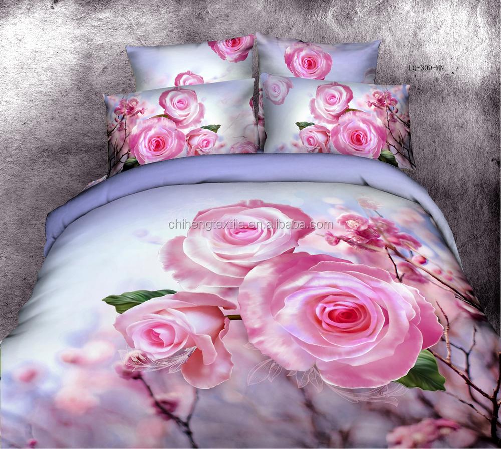 grande fleur rose motif 3d ensemble de literie drap ensemble housse de couette grossiste literie. Black Bedroom Furniture Sets. Home Design Ideas