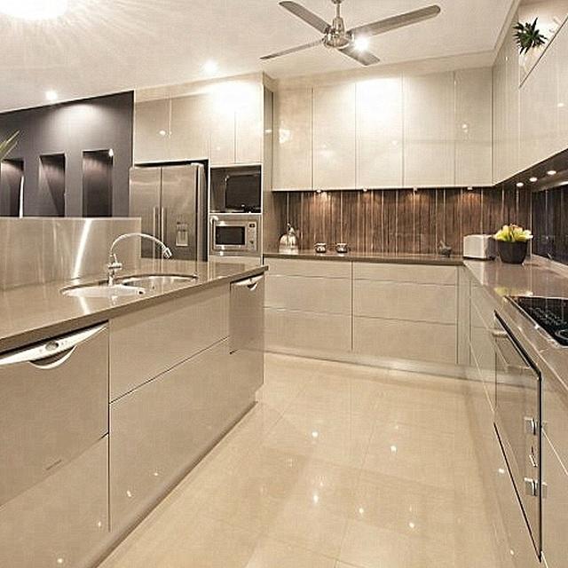 Kontemporer Kabinet Warna Solid Lemari Dapur Kitchen Furniture