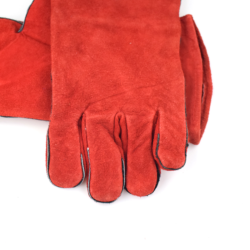 Red Welding Gloves Cow Split Leather Work Gloves Leather Safety working  Gloves
