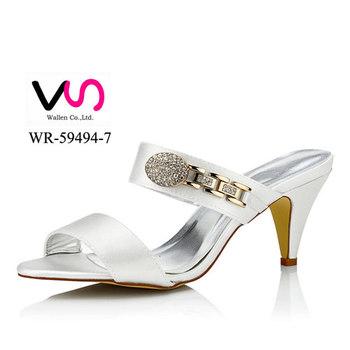 695b8aa84 Горячая 8 см высокий каблук сандалии в dyeable атласа без платформы  свадебные туфли