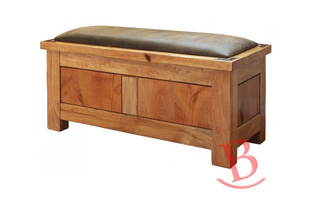 Heath Bedroom Storage Trunk Hardwood Rustic Western Lodge Cabin Seating