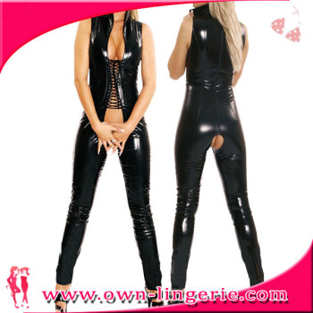 New Arrival Sexy faux leather Catsuit Women Black Open Bust Bodysuit Cat Women Open Crotch Jumpsuit laced up front