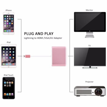 New Products Light Ning To Digital Av Video Tv Hd Mi Vga Audio Adapter For Ipad Mini 2 3 4
