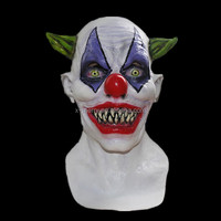 X-MERRY Devil Clown Mask - Creepy Clown Latex Mask Features Wicked Teeth, green pointy hair Halloween Cosplay