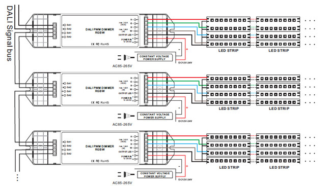 dali led driver wiring diagram wiring diagrams 4 channel 12v 24v led rgbw strip dali dimming driver