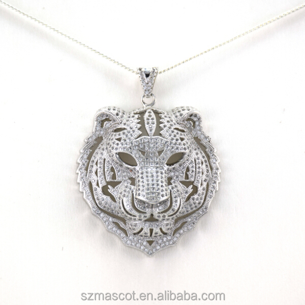 Newest Brass Metal Rhodium Plated High Quality Lion Pendant