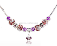 wholesale chunky colorful glass bead charm necklace
