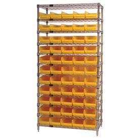 "Wire Shelving With (55) 4""H Plastic Shelf Bins Yellow, 36x14x74"