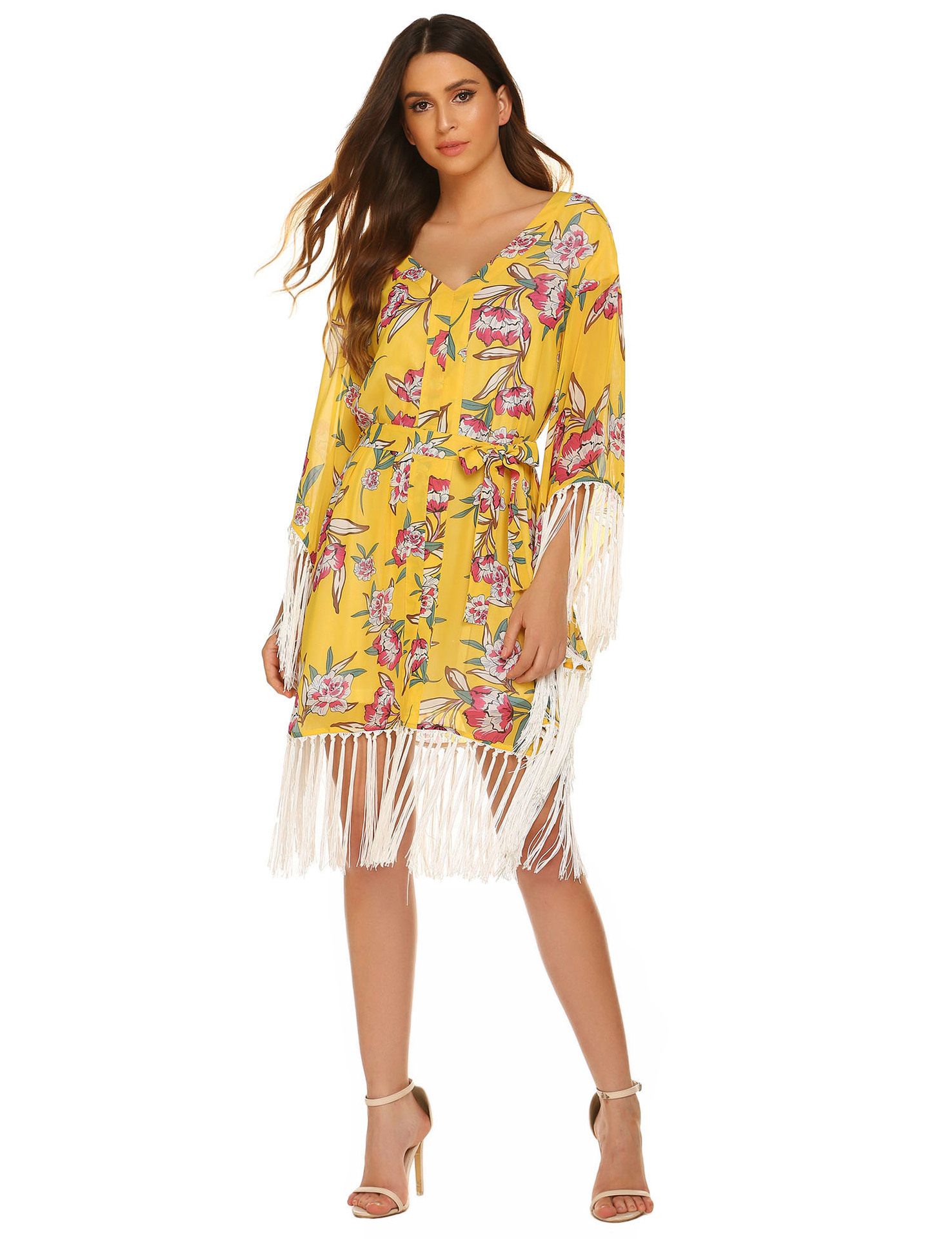 Ladies Casual One Piece Lady Beach Dress In Floral Print Hawaiian Women Dress