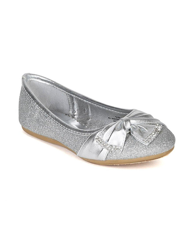 Little Angel Glitter Bow Embellished Slip On Ballerina Flat (Toddler/Little Girl/Big Girl) BH33 - Silver