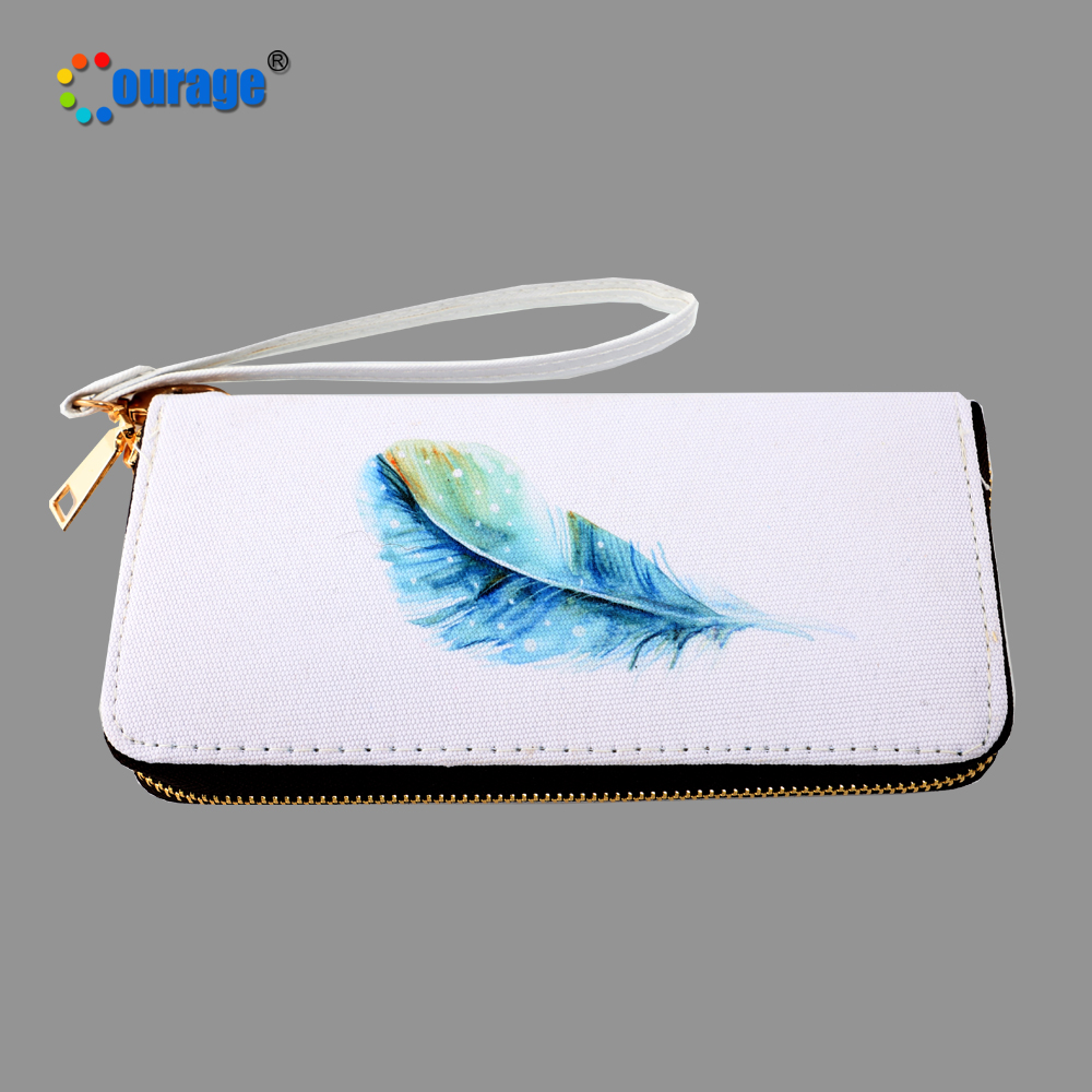 Blank for custom sublimation printing zipper canvas long <strong>wallet</strong> for lady