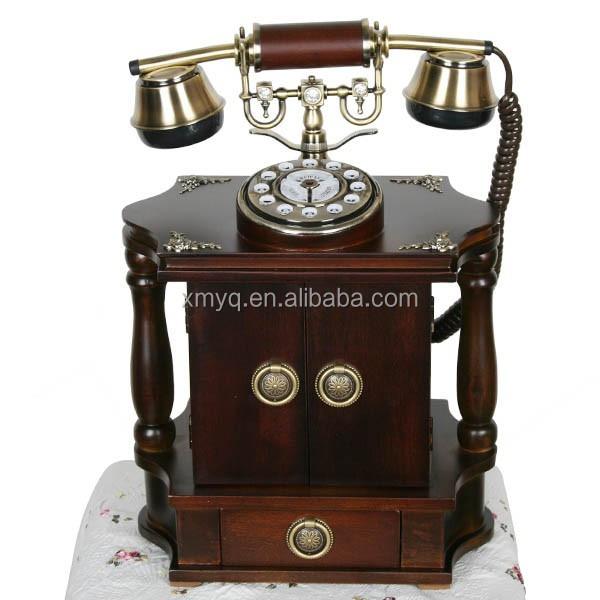 Retro Wood Telephone Wholesale Decorative Funny Home Phones Vintage