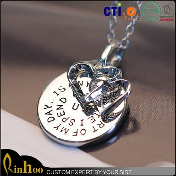 "c63f560dd5 Double heart infinity love necklace ""I love you"" engrave initial  letter necklaces"