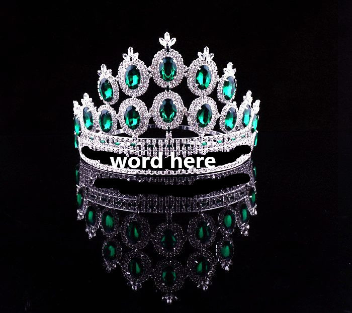 Beauty Queen Metal Silver Plated Emerald Crystal Pageant