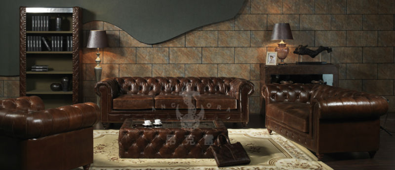 Living Room Vintage Aviator Chesterfield Leather Sofa A102