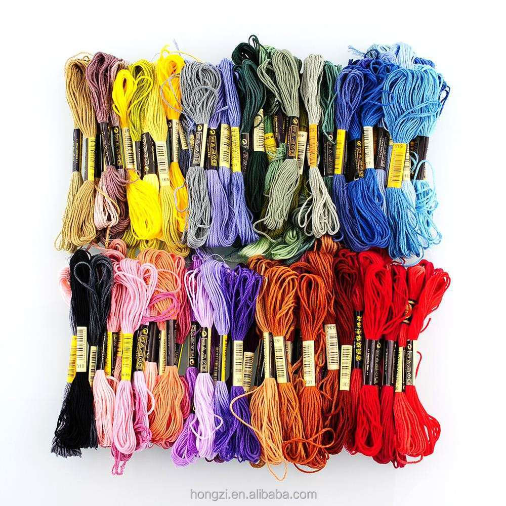 Hot Jual Mode 100 Pcs Yang Berbeda Warna Cross Stitch Cotton Bordir Thread Floss Kerajinan DIY