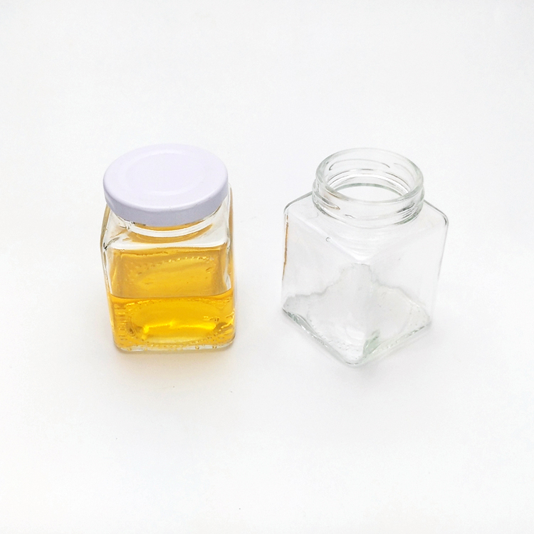 Small 100ml 4oz square glass jars for honey bottles with metal lug lids