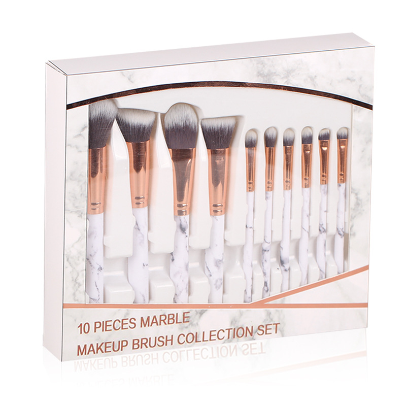 In Stock Private Label 10pcs Marbling Handle marble Makeup Brushes Set With Retail Box