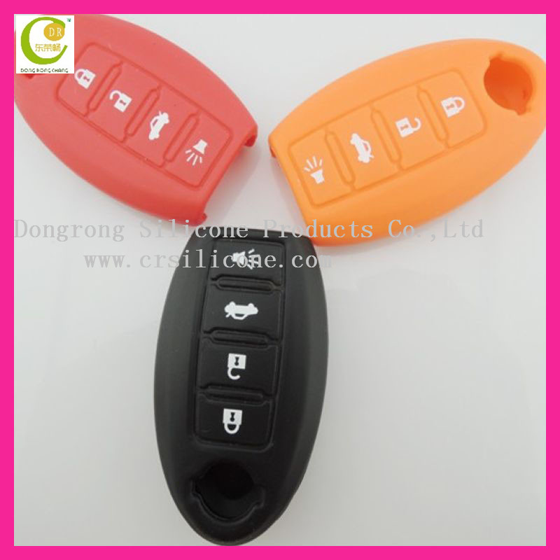 Eco-friendly fashion silicone colored transponder key casing for nissan key cover perfect suitable,durable and shockproof
