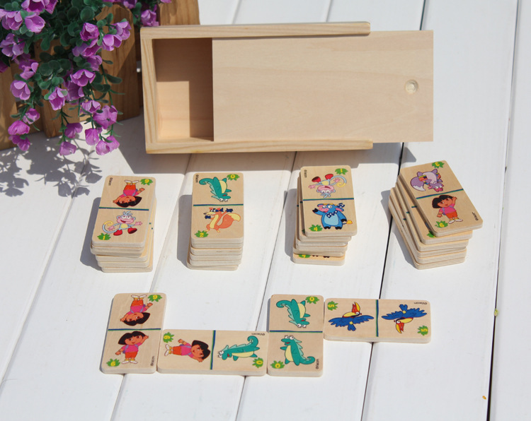 100 pieces Educational beech Wooden Domino brick toy with wooden box