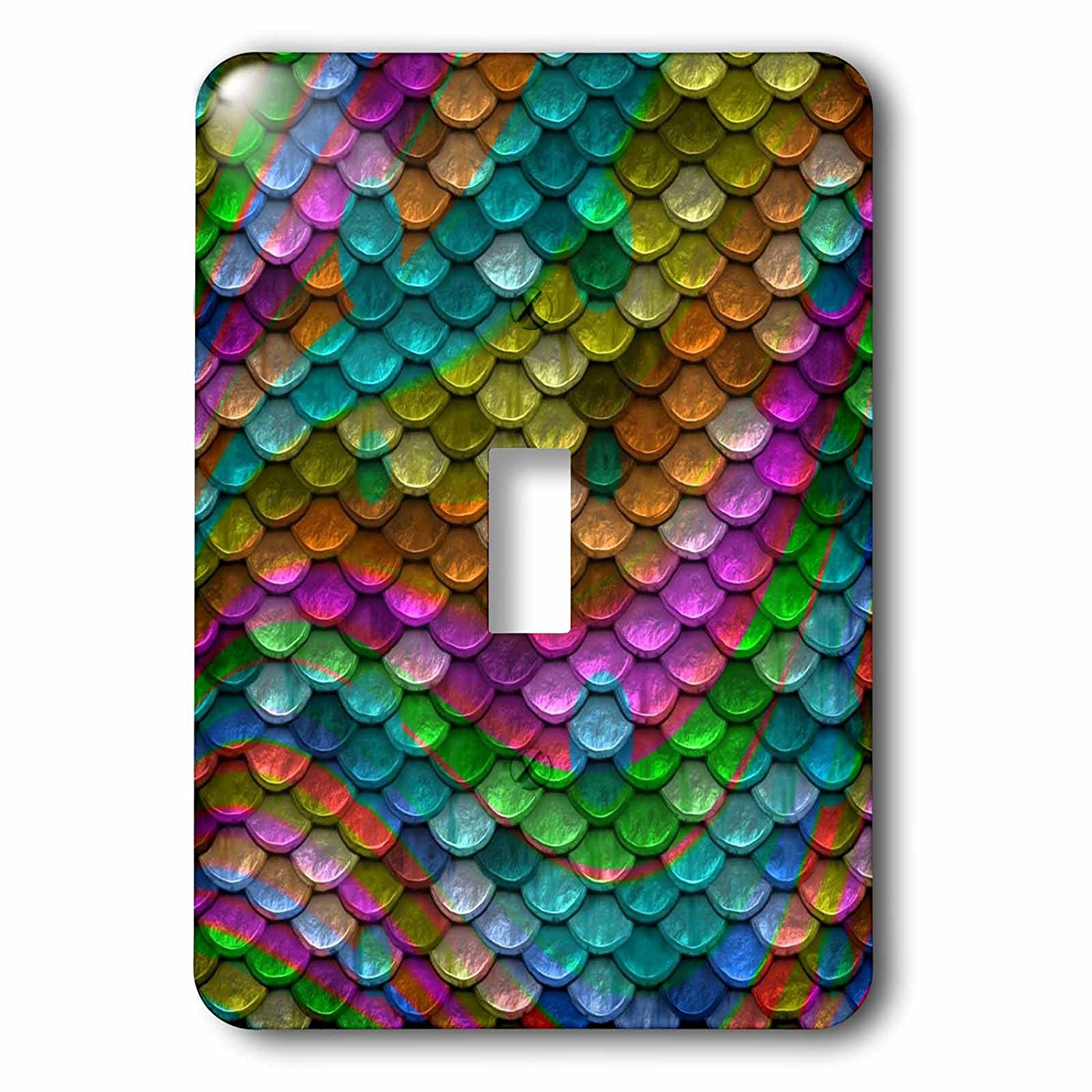 3dRose Mermaid - Image of Mermaid Scales In Multicolor Shades - Light Switch Covers - single toggle switch (lsp_279971_1)