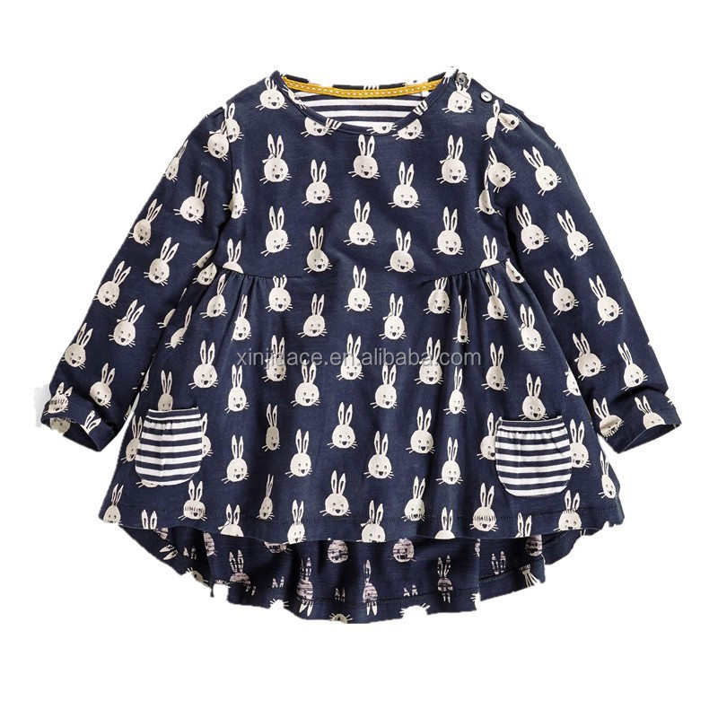 Lovely long sleeve printed white rabbit black kids t-shirt ruffle