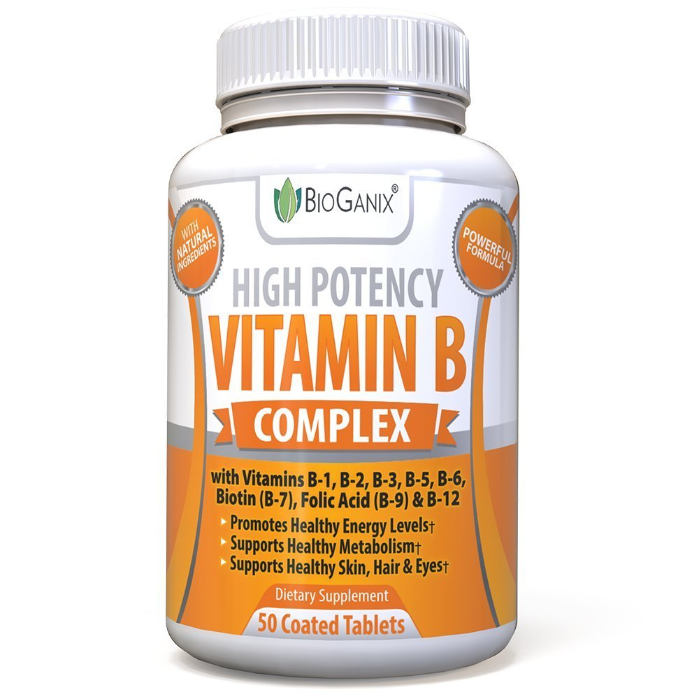 Vitamin B Complex 50 Supplement With Vitamin B12, B1, B2, B3, B5, B6, B7 Biotin & B9 Folic Acid 400mcg - Vegan High Potency Capsules To Boost Energy, Weight Loss, Metabolism, Skin, Hair & Eyes