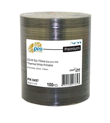 Grade AAA Blank CDs - CD-R Falcon White Thermal Hub Printable Diamond 52x 700 MB 80min 100 Disc Pack Blank CDs