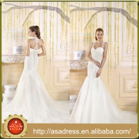 VIL-01 Elegant Mermaid Sweetheart Lace Appliques Pleats Covered Buttons Back Court Train Wedding Dresses