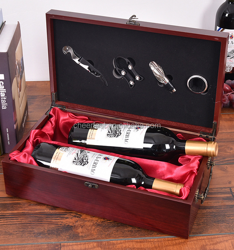 high quality red MDF wine wooden double bottle box