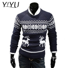 Men christmas pullover Custom o-neck reindeer jacquard pattern knitted sweater