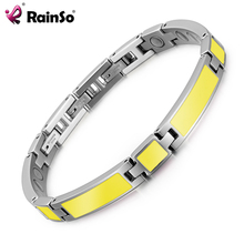Stainless steel silver gold two tone bio health 2000 gauss magnetic bracelet