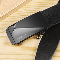 New arrival fashion custom logo Sliding Auto Buckle Leather Belt Alloy Auto Buckle Black Color In Stock